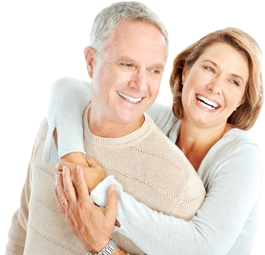 adult man and woman laughing