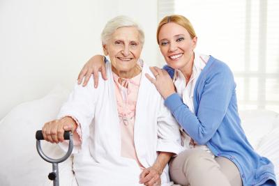 senior women sitting on the bed